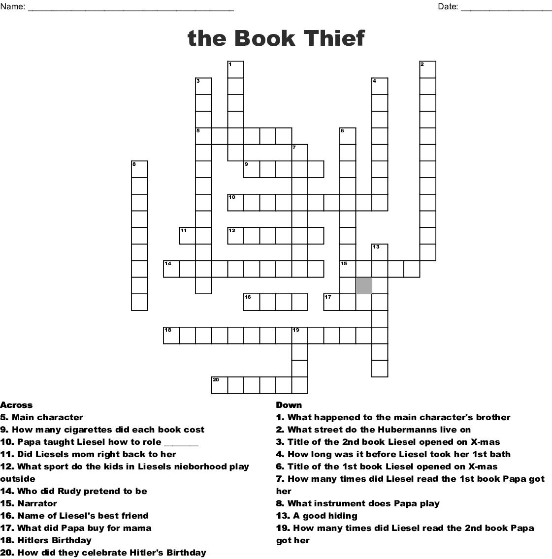 The Book Thief Crossword