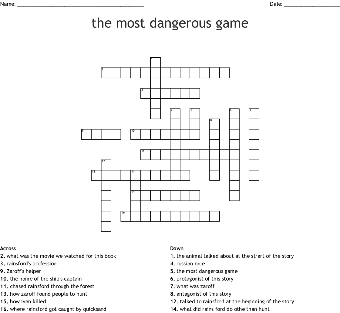 The Most Dangerous Game Crossword