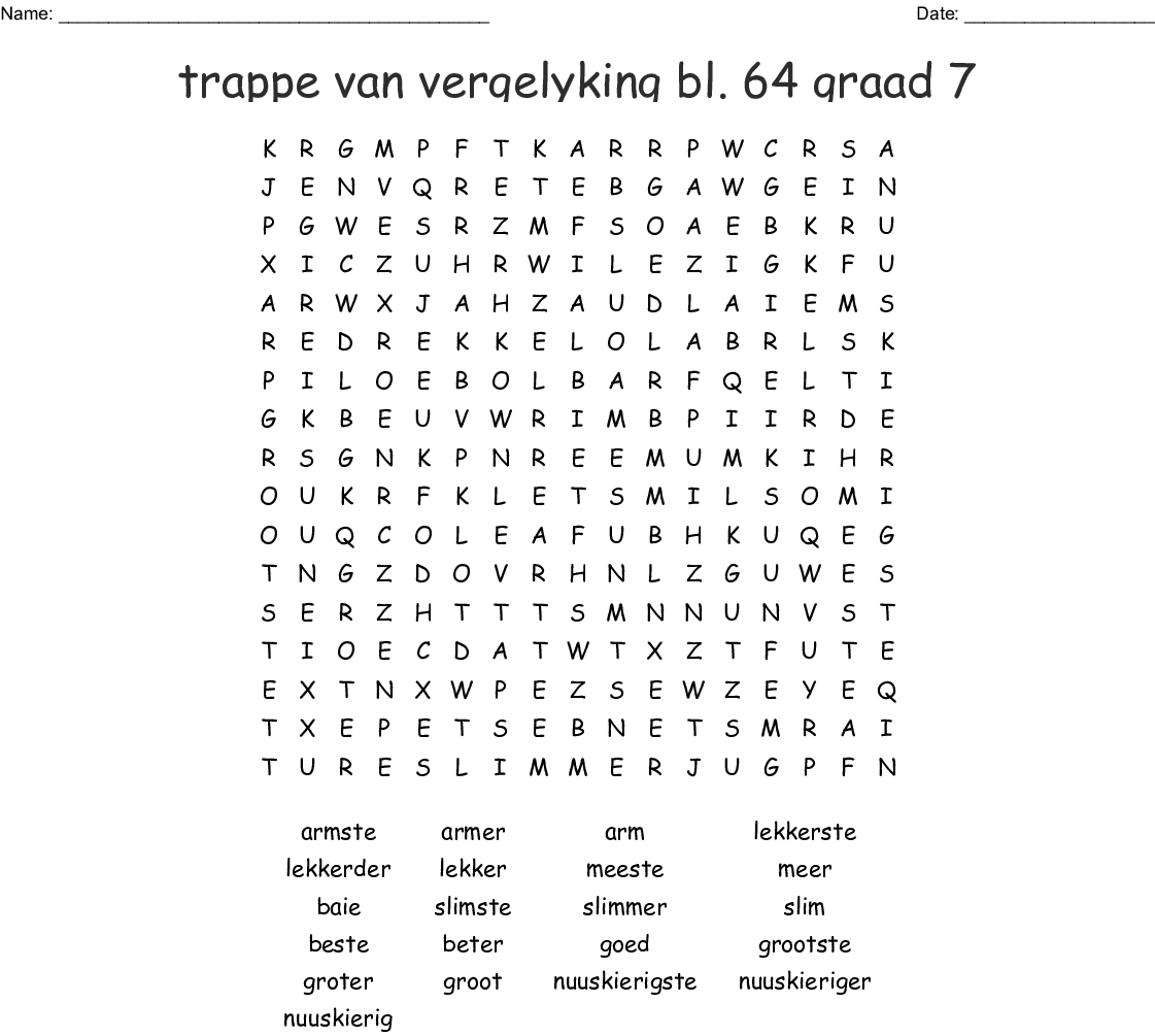 Trappe Van Vergelyking Bl 64 Graad 7 Word Search