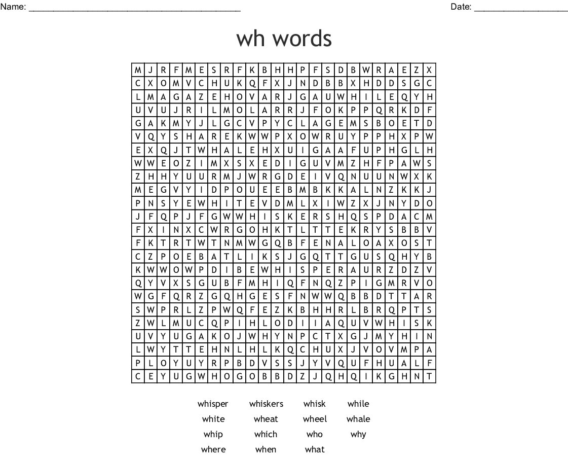 Wh Words Word Search