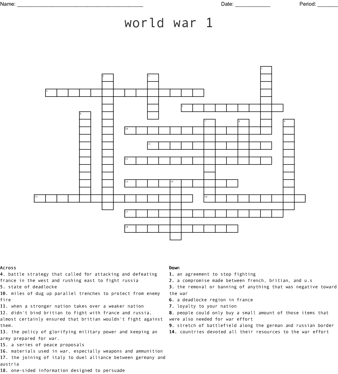 Ww1 Word Search