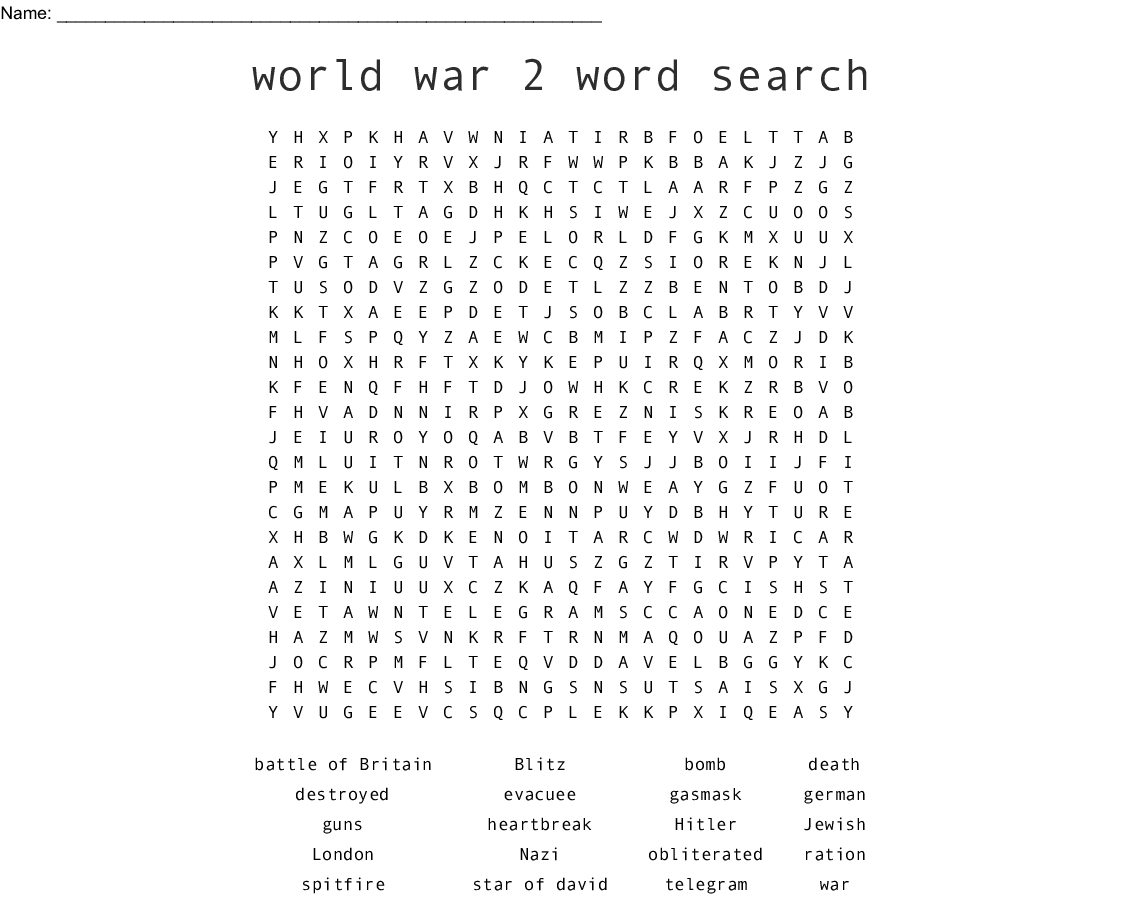 Find The Hidden Ww2 Words Word Search