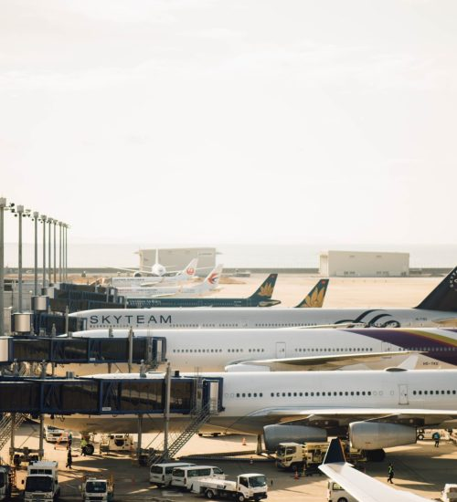 planes lined up at airport