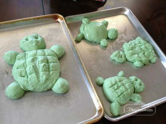cute turtle bread dough ready to rise