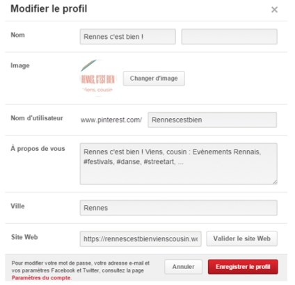 Modification de votre profil Pinterest