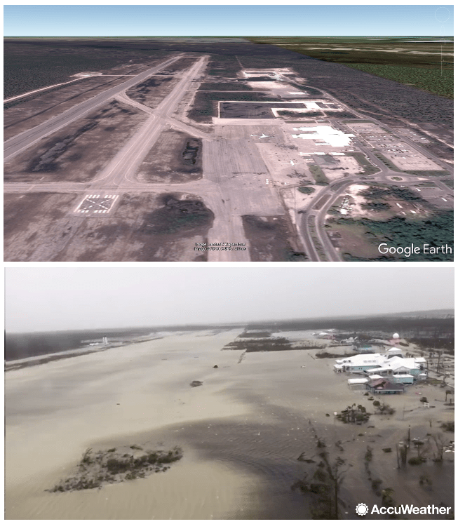 Marsh Harbour airport before and after Dorian