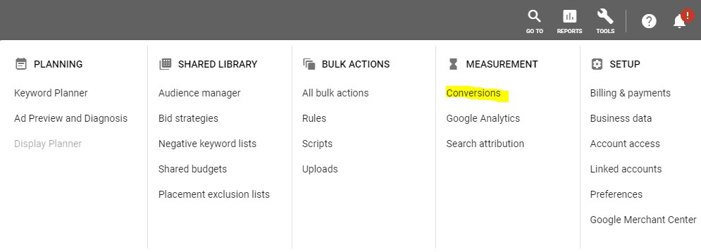 Where to find conversion tracking in Google Ads