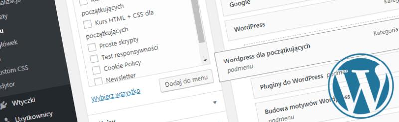 budowa własnego menu w WordPress