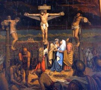 Marie-Madeleine, Croix. Tableau du peintre local André Thiry (1903-1982) situé au fond de l'église de Saint-Michel-en-Grève des Côtes-d'Armor, Bretagne