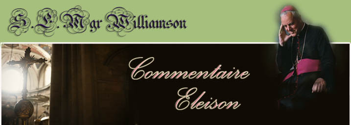 Mgr Williamson, Commentaire Eleison