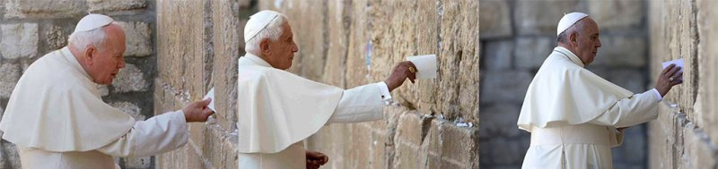 Les 3 derniers antipapes de la secte conciliaire au Mur des Lamentations