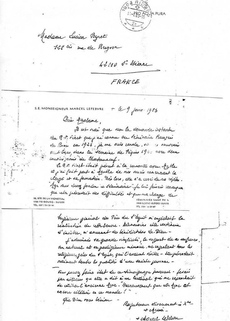 Lettre de Mgr Lefebvre à Mme Lucien Peyret