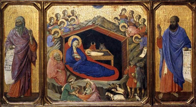 """""""La Nativité entre les prophètes Isaïe et Ezéchiel"""" par Duccio Di Buoninsegna"""