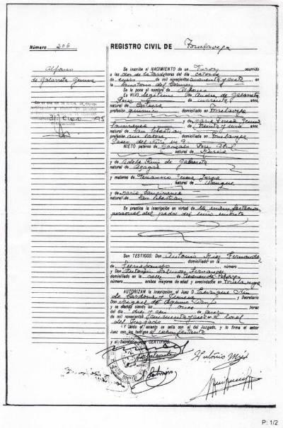 L'acte de naissance de Mgr de Galarreta
