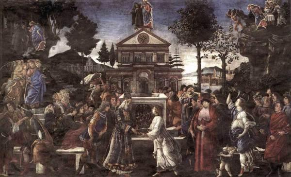 Sandro Botticelli, de son vrai nom Alessandro di Mariano dei Filipepi, Tentazioni di Cristo, 1481-82, Cappella Sistina