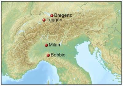 Colomban dans les Alpes et l'Italie