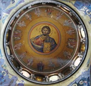 """La coupole du """"catholicon"""" : Le Christ entouré par la Vierge et les douze apôtres"""