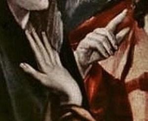 Le Greco : le Christ faisant ses adieux à sa Mère : détail, les mains droites