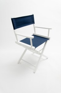 """18"""" Contemporary Series Chair - White with Navy Canvas"""