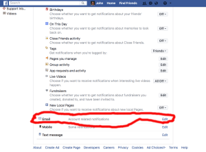 Facebook Email Notifications Section
