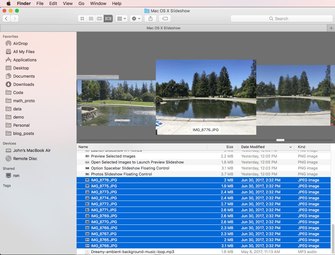 select image files in finder