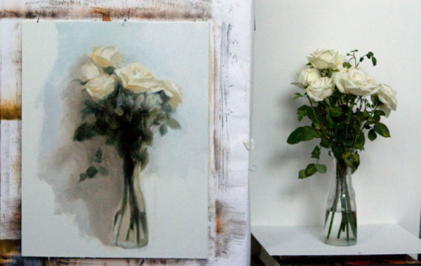 Rose oil painting in progress, studio shot by Kate Sammons