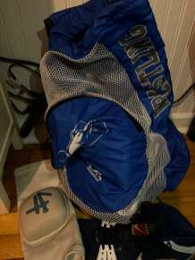 Wrestling bag and equipment, belonging to Bo Brady, a high school junior in Merrick, NY on Sept. 27 2020. Brady hopes his season will not be compromised due to COVID-19. (J24/Kate Brady)