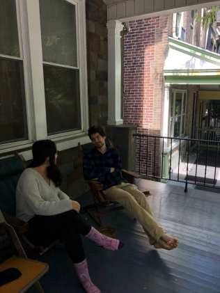 Caitlin Haas and Thomas Siggillino, both juniors at Lehigh University, talk in front of her house in Bethlehem, PA, on September 20, 2020. She lives here with other students at Lehigh. (J24/Clare Fonstein)