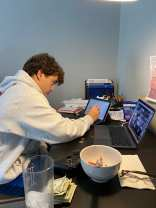 Radnor High School senior Chris Begier multi-tasks during his online calculus class in Radnor, Pa on Tuesday, Sept. 22, 2020. Begier will transition to in-person class on Tuesday, Sept. 29, 2020. (J24/Grayson Begier)