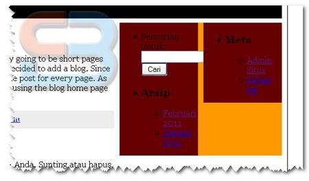 Tampilan sidebar sebelum dipasang widget