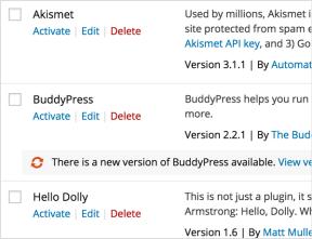 Inline plugin updates