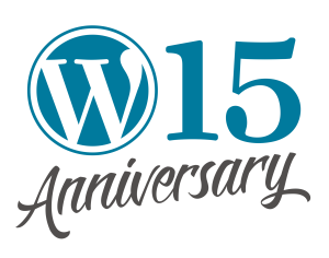 "The WordPress ""W"" mark, with the number 15 after it, and the word ""anniversary"" in script below"