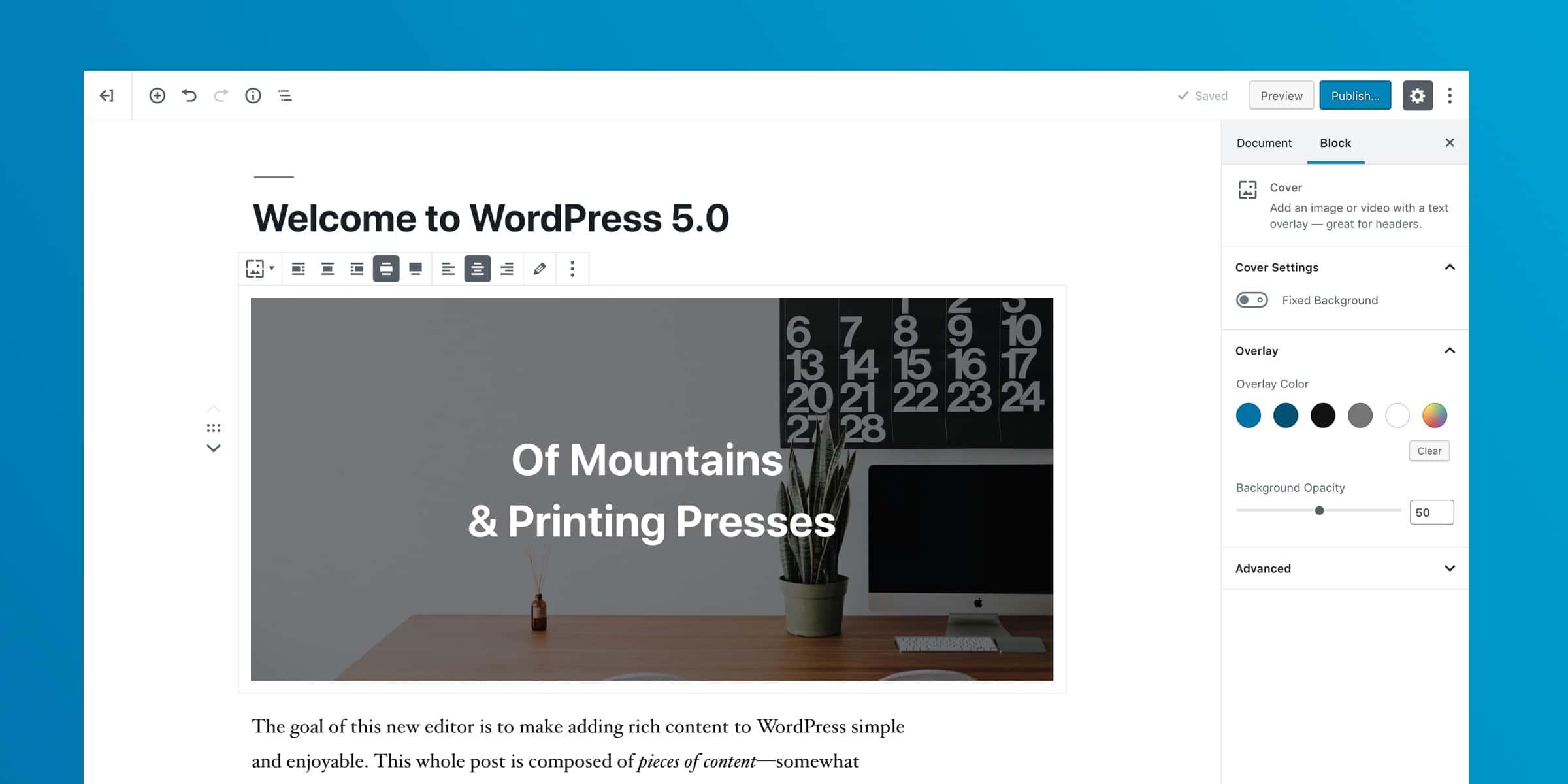 Así se ve Gutenberg al actualizar a WordPress 5.
