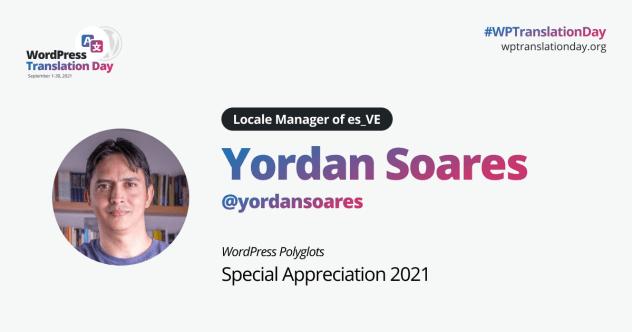 Polyglots special appreciation. Yordan Soares.