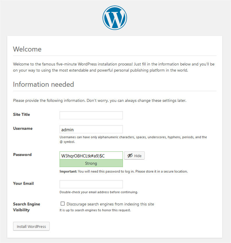 wp welcome page