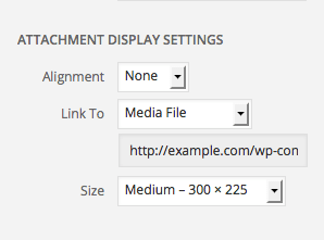 Attachment display settings: alignment, link to, and size