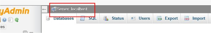 Databaser Server selected showing 'localhost'
