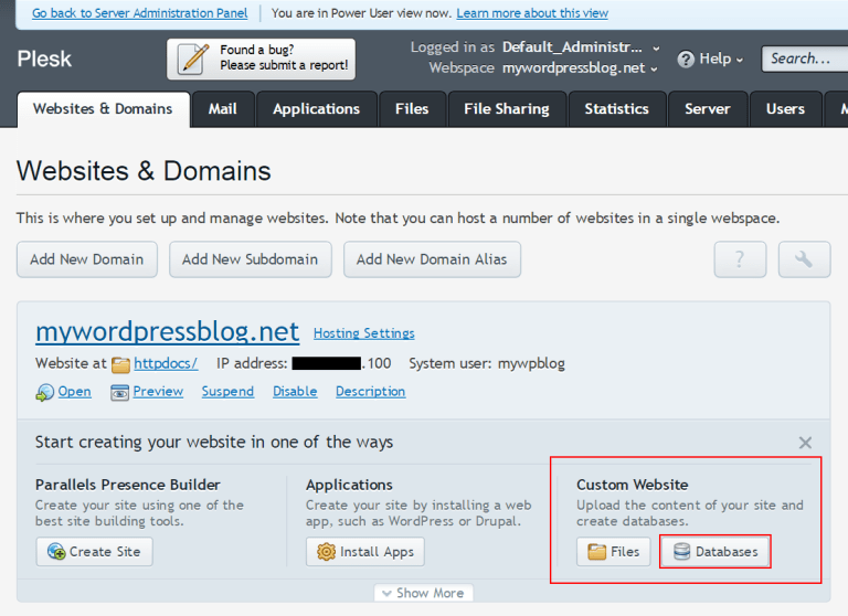 Plesk panel highlighting the Custom Website box with the databases button highlighted