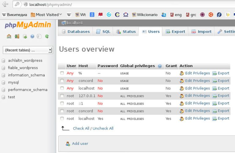 phpMyAdmin Users Tab selected