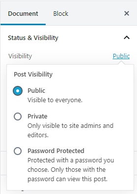 Gutenberg - Content Visibility Selection