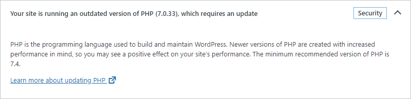 Message: Your site is running an outdated version of PHP, which requires an update