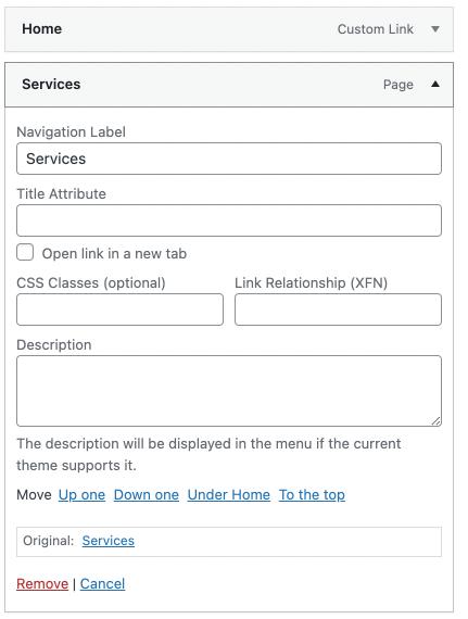 Menu configuration options