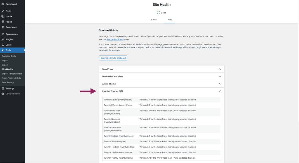 Inactive Themes tab in Site Health Info Screen