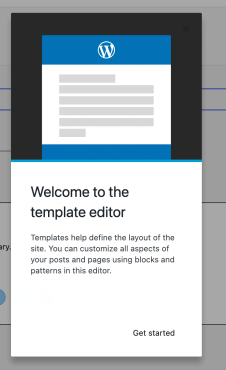 Image showing a welcome guide with text introducing the template editor.