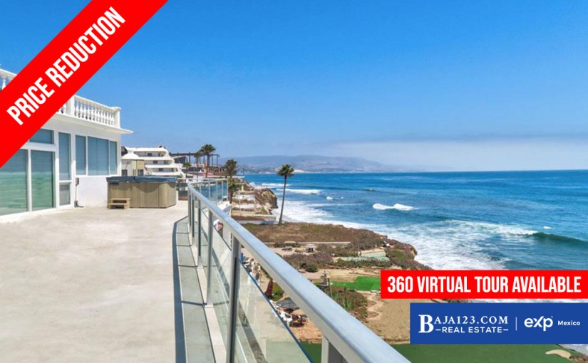 PRICE REDUCTION – Oceanfront Home For Sale in Cantiles Dorados, Rosarito Beach – $949,000 USD