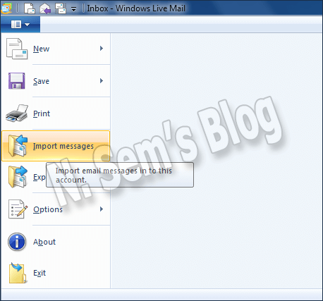 import messages to Windows Live Mail