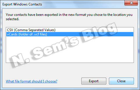 export contacts to VCF (step-5)