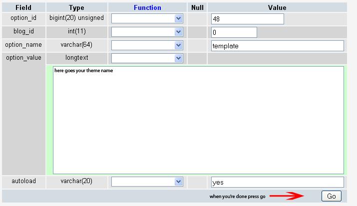 Change WP Theme and Stylesheet