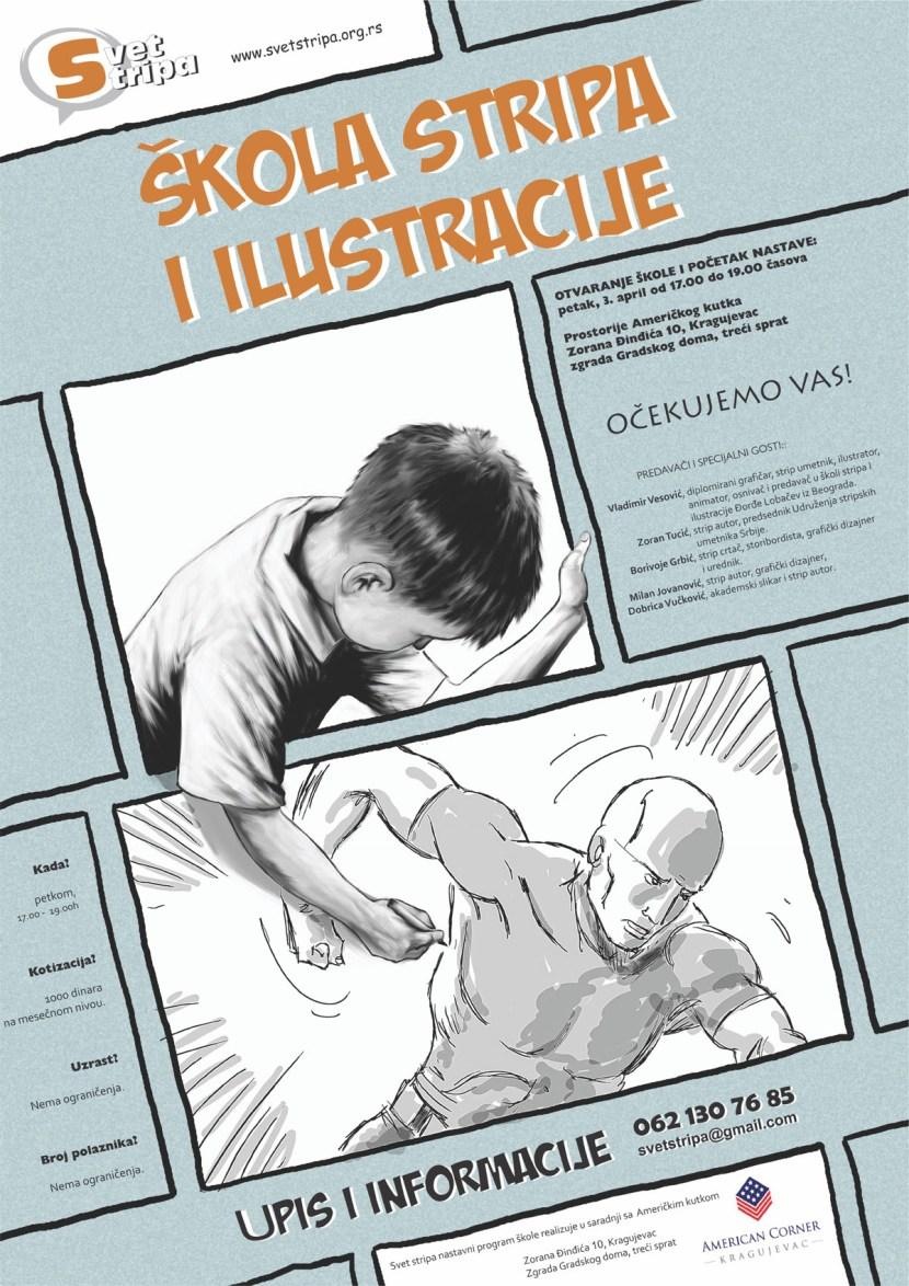 skola stripa i ilustracije plakat