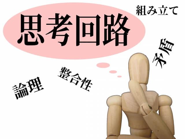 「論理」「整合性」「矛盾」「組み立て」と思考回路を巡らす木製の人形
